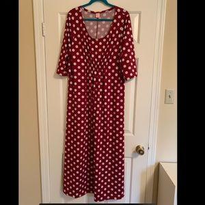 Red Polkadot Maxi Dress